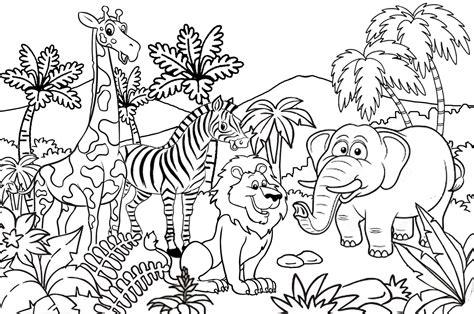 contoh gambar menggambar dan mewarnai kebun binatang