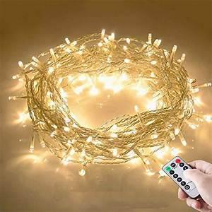 Weihnachtsbeleuchtung Mit Batterie Und Timer : 10m 100 led lichterkette mit fernbedienung und timer 8 modi dimmbar batterie betrieben ~ Orissabook.com Haus und Dekorationen