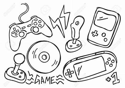 Console Clipart Drawing Consoles Doodle Games Vector