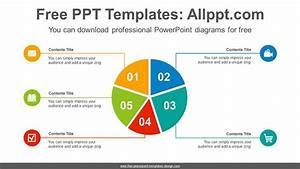 5 Split Pie Chart Powerpoint Diagram Template