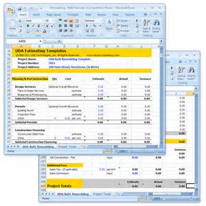Estimating Renovation Costs by Uda Construction Estimating Templates Remodeling Excel