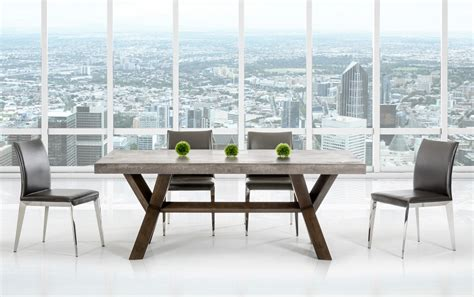rectangular concrete  acacia base dining table houston