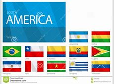 Waving Flags Of South American Countries Royalty Free