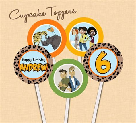 wild kratts birthday cupcake toppers  celebrationsbylulu