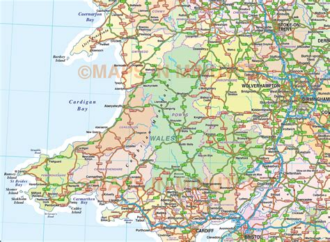 5m Scale British Isles County Road Map With Medium Colour