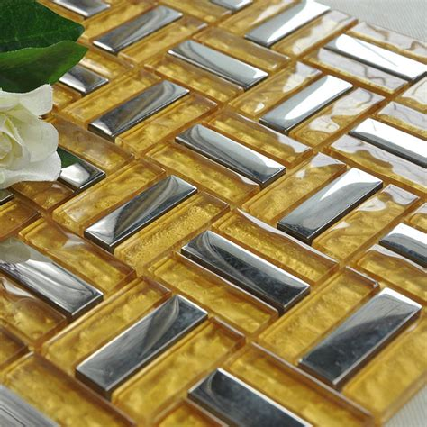 crystal mosaic tile gold brick silver plated glass wall