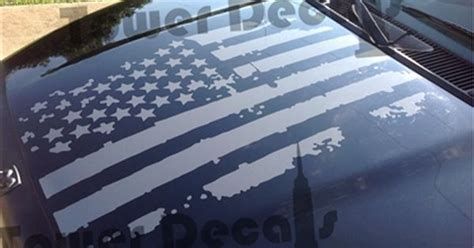 distressed american flag hood decal fits dodge ram truck