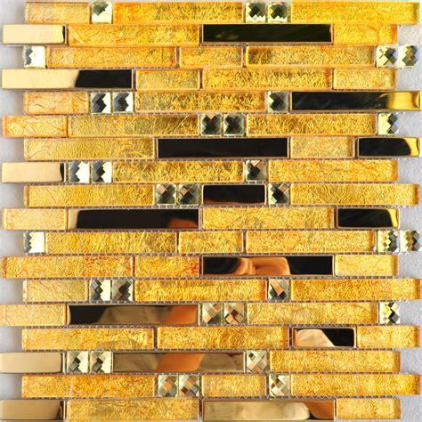 black glass backsplash gold glass mosaic wall tile cheap stainless steel