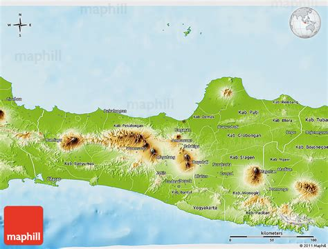 physical  map  central java
