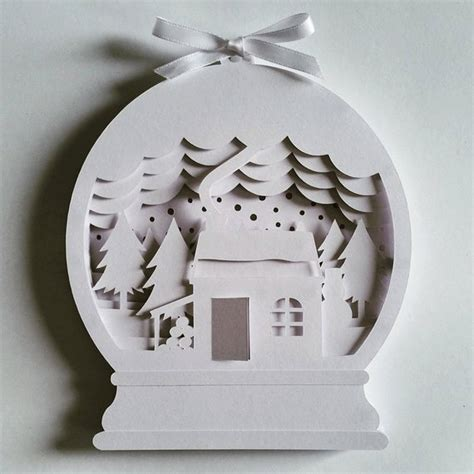 christmas snow globe diy layered  shadow box papercut