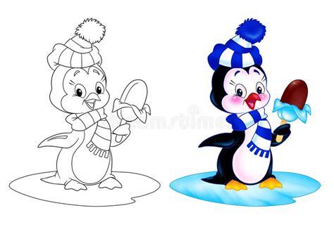 Penguin Cartoon Ice Cream Stock Illustration. Image Of