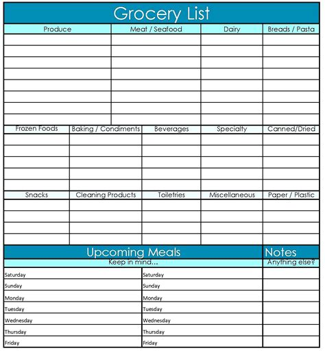 grocery checklist template free printable grocery list template excel word