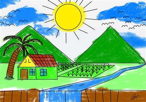 lukisan pemandangan alam untuk anak sd