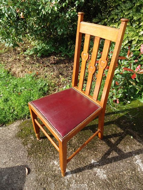 lovely set of four arts crafts dining chairs antiques