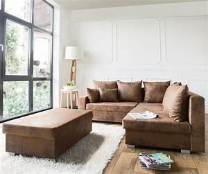 Couch Lavello Braun 210x210 Ottomane Rechts Hocker Antik