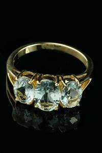 9ct Yellow Gold 3 Stone Aquamarine Ring Goodwins Antiques