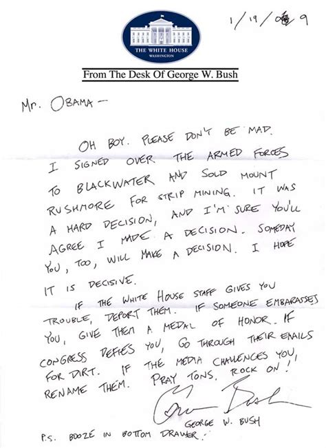bush letter to obama bush s personal letter to obama huffpost 47566