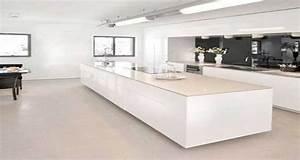Cuisine blanche avec ilot central design for Deco cuisine avec chaise design blanche