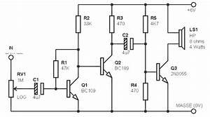 Simple Amplifier Circuit 3w    8 Ohm