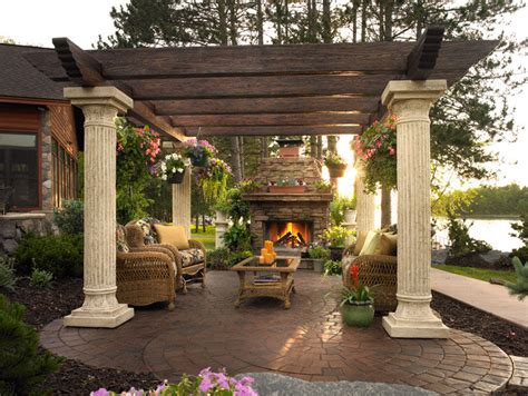 Gorgeous Patio With Pergola & Fireplace Pictures, Photos