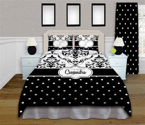 black  white polka dot bedding  damask pattern  twin queenfull king