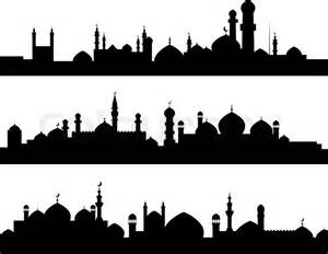 free architectural plans muslim cities silhouettes stock vector colourbox