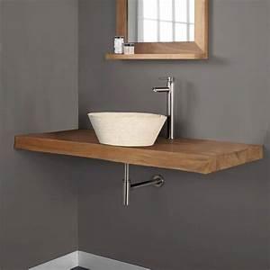 plan de travail de salle de bain en teck massif achat With stratifie hydrofuge salle de bain
