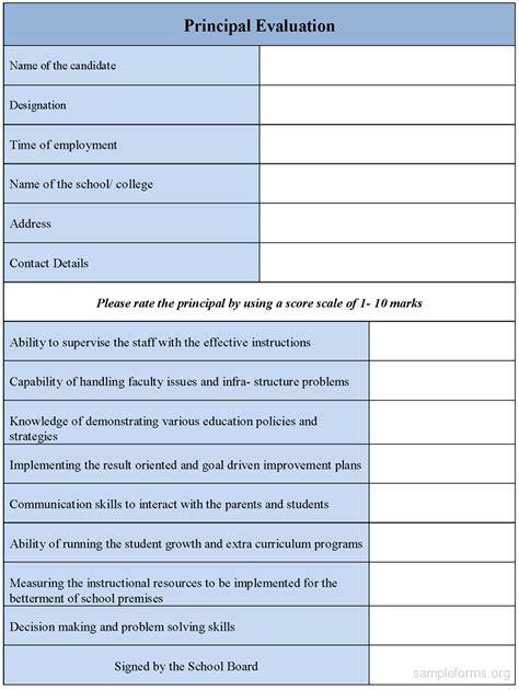 evaluation form principal evaluation form sle forms