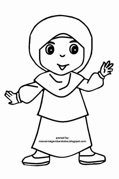 Sketsa Mewarnai Gambar Kartun Anak Muslimah Cantik