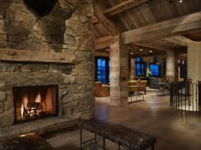 ranch style home interior yellowstone residence entry fireplace rustic entry denver by lkid