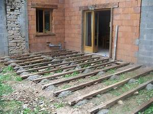 terrasse bois sur plots ciment wrastecom With maison bois sur plots 2 terrasse sur plots trelevern koateco construction