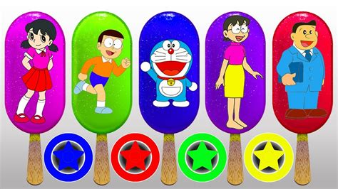 Learn Colors With Ice Cream And Car Tires Doraemon Nobita
