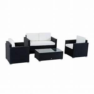 Outsunny 4 piece cushioned outdoor rattan wicker sofa for 4 piece sectional wicker sofa set