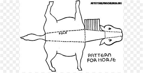horse paper craft template pattern cut  circus lion