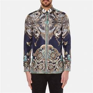 Versace Collection Men's Printed Silk Shirt - Navy - Free ...