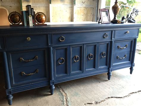 navy blue painted vintage dresser by loved furniture