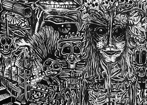Detailed Trippy Black & White Drawing Psychedelic Dream World