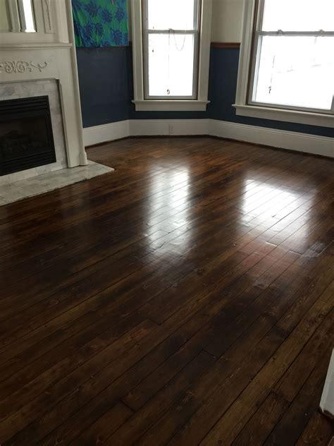 antique pumpkin pine floor  minwax special walnut