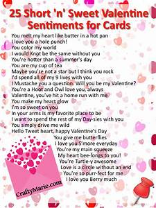 CraftyMarie: 25 Cute Valentine Sentiments for Cards