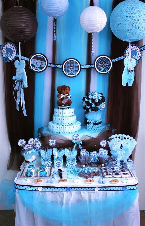 brown and baby blue baby shower decorations brown blue teddy theme baby shower ideas