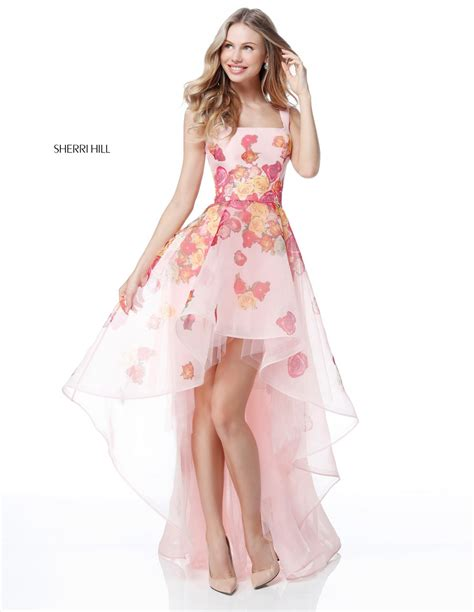 sherri hill  sheer floral high  prom dress french