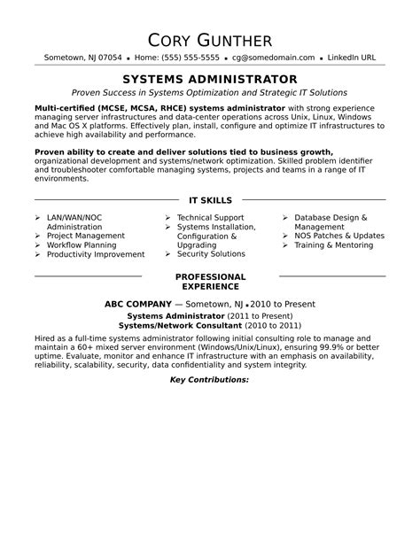 It Systems Administrator Resume by Sle Resume For An Experienced Systems Administrator