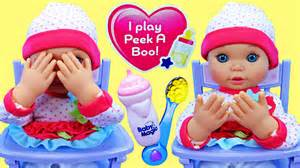 High Chair For Babies by Baby Doll Plays Peek A Boo Drinks Bottle Amp Eats In High