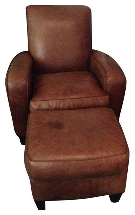 brown leather club chair ottoman rustic armchairs