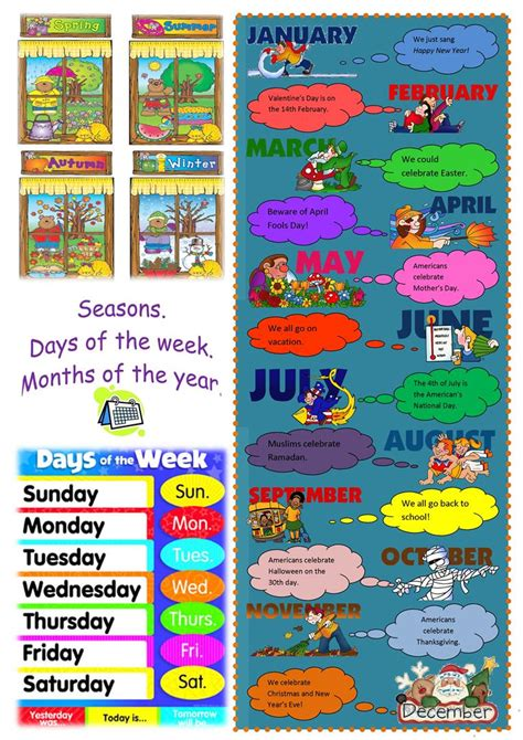 seasons days months poster worksheet  esl