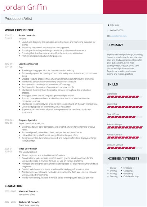 Artist Resume by Production Artist Resume Sles Templates Visualcv