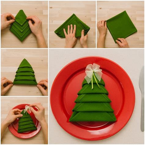 diy christmas tree napkin folding video