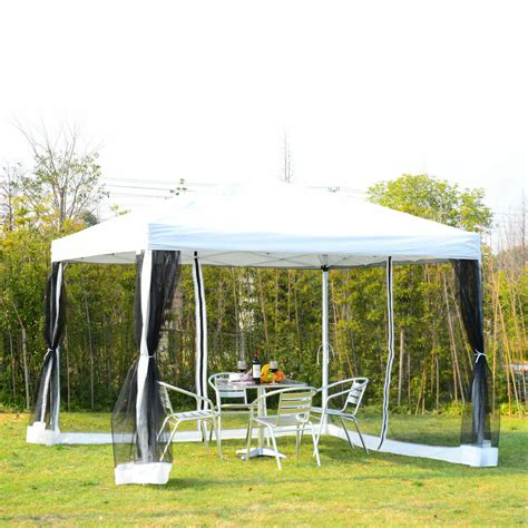 outdoor ez pop wedding party tent patio gazebo canopy mesh white wbag ebay