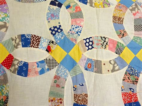wedding ring quilt top 1930 s unwashed clean cow hollow quilts collectibles