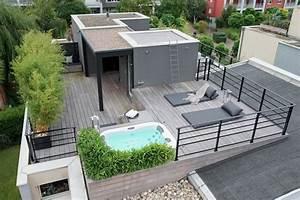 toit terrasse bois am nager son en vivre c t amenagement With amenagement terrasse toit plat